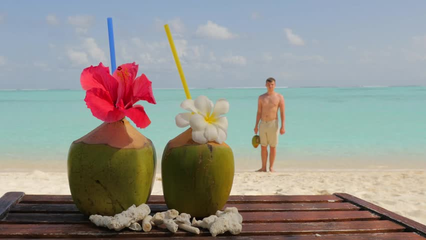 Tropical Fresh Coconut Cocktail On White Beach Two Drinks Luxury Resort In