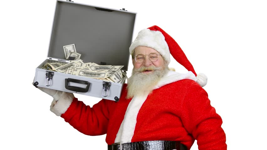 Santa holding money suitcase isolated. Santa Claus, ok gesture. New year resolutions for investors.