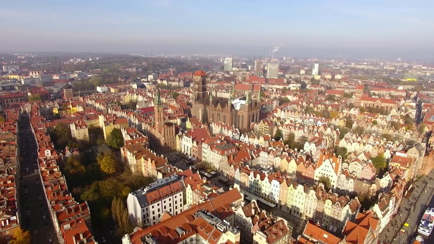 Bird-eye view of the old town of Gdansk at sunny day | Shutterstock HD Video #32591845
