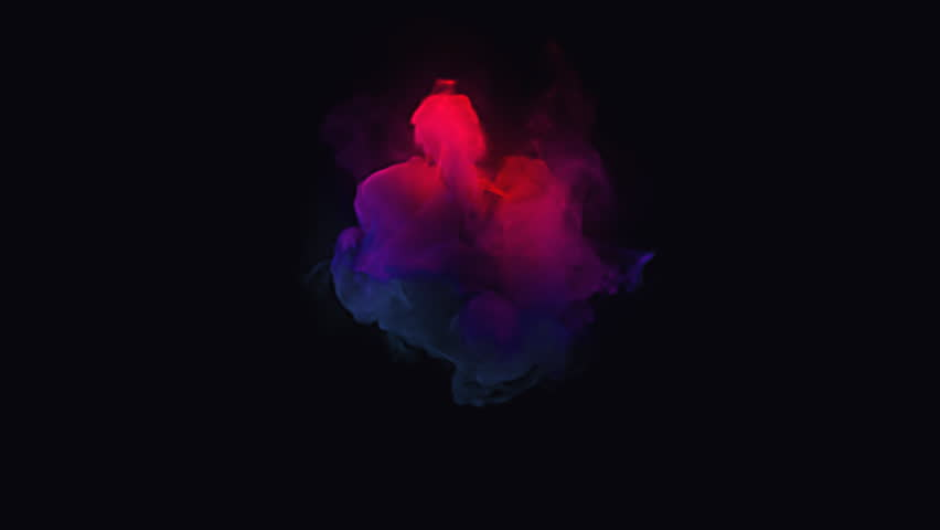 Colorful smoke envelops a black circular sphere. Perfect for overlaying over a circular logo. 4K UHD animation rendered at 16-bit color depth.