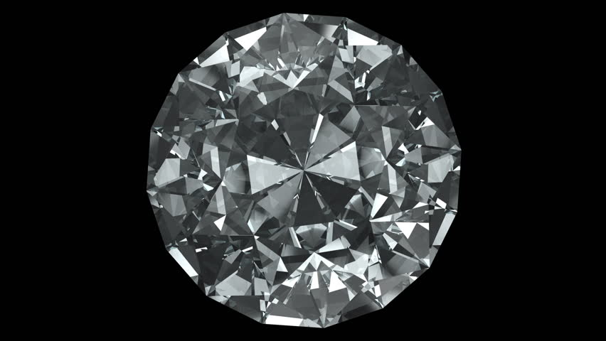 Big spinning diamond on black background - loopable 3d animation