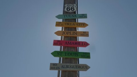 Direction signs to famous cities at Route 66
