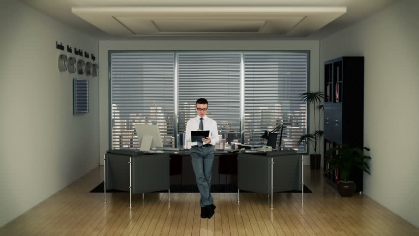 Businessman In Office Writing On Stock Footage Video 100 Royalty