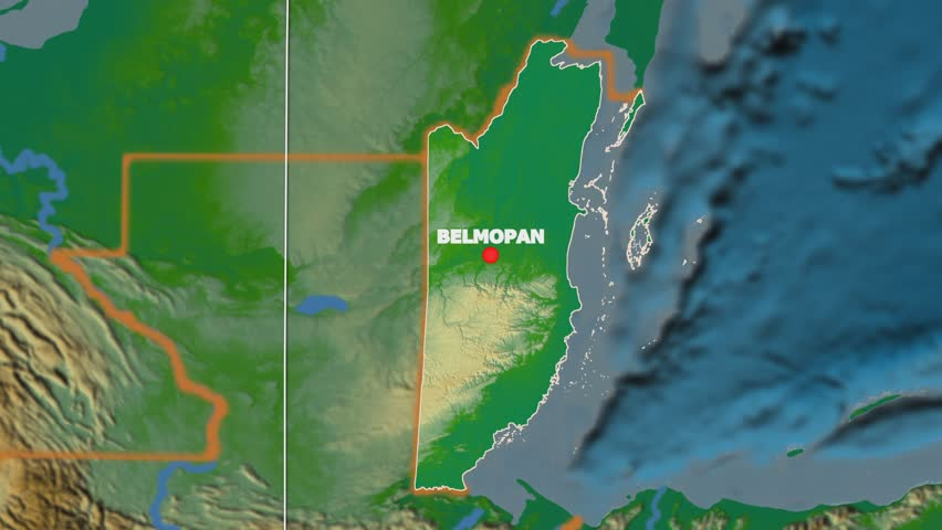 Zoomin On Belize Extruded On The Globe Capitals Administrative