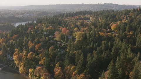 Portland, Oregon circa-2017, Aerial shot of Lake Oswego area in Fall. Shot with Cineflex and RED Epic-W Helium.