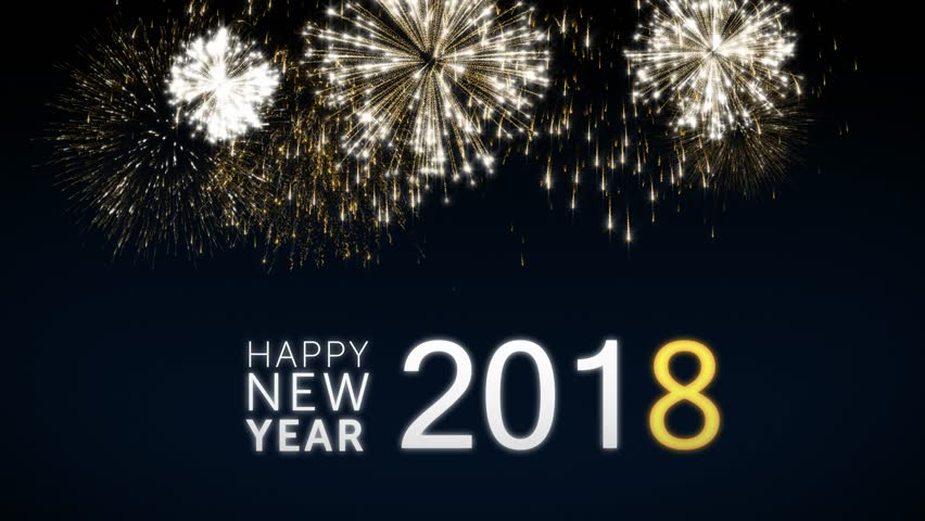 Looping Happy New Year 2018 Social Post Card With Gold Animated Fireworks  On Elegant Black And Pictures Gallery