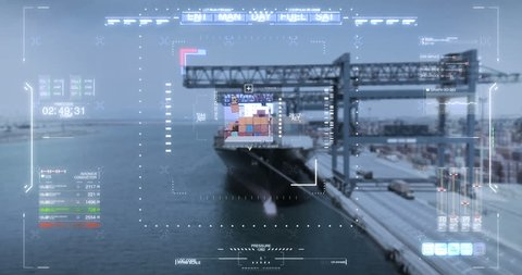 GPS location and futuristic tracking of a newly loaded cargo ship and parcel detection, thanks to advanced technology and virtual holography. Concept of: transportation, logistics, future, tracking