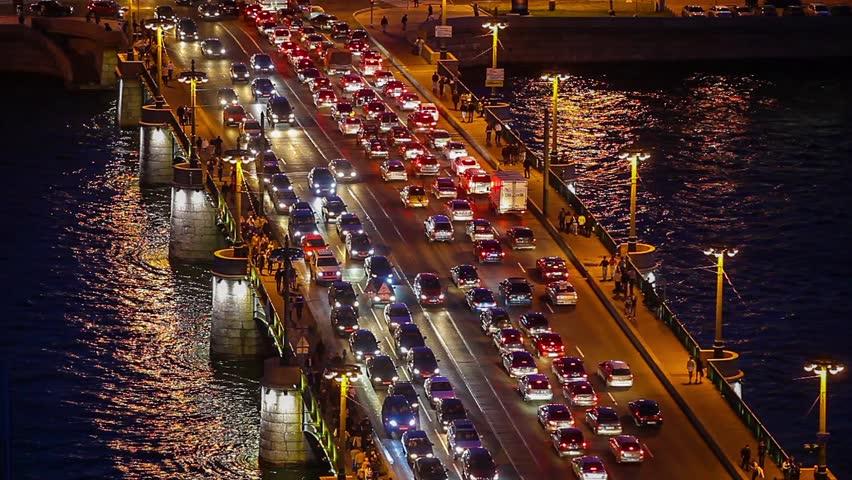 Traffic on the bridge during rush hour | Shutterstock HD Video #3274205
