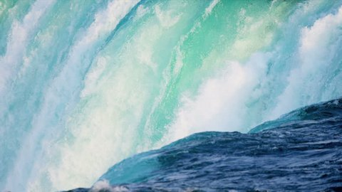 View of powerful aqua colored water from three waterfalls merging