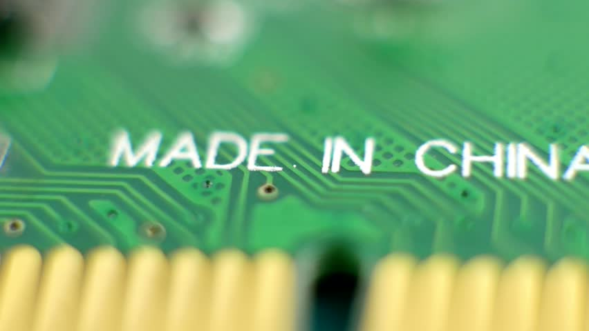 Macro computer parts with the label made in China