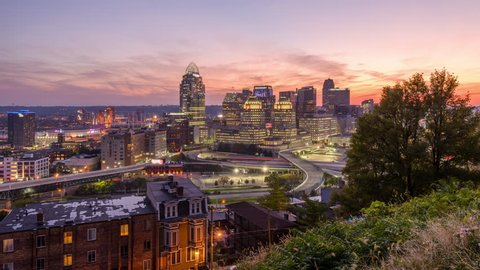 Cincinnati, Ohio, USA cityscape at twilight.