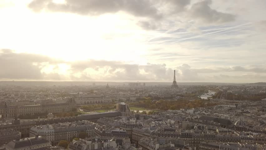 Cityscape of Paris, France. Aerial view. Louvre museum and Eiffel tower | Shutterstock HD Video #32797177