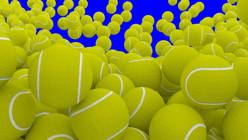 Animated a lot of plain green tennis balls falling, tumbling and bouncing filling up container against blue background. High angle shot.   Shutterstock HD Video #32799751