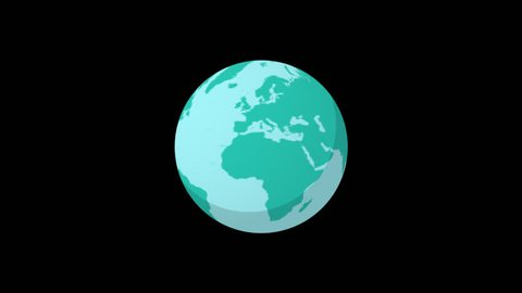 Alpha channel Rendered .Flat spinning Earth .Cartoon globe animation seamless loop