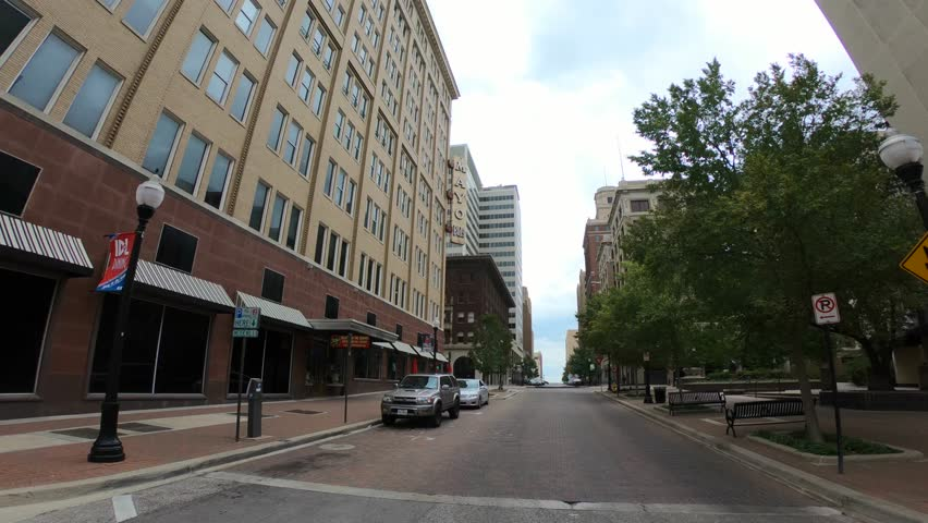 Walk through Tulsa downtown district - empty streets with no traffic - TULSA / OKLAHOMA - OCTOBER 15, 2017