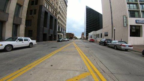 Street view in Tulsa downtown - empty streets - TULSA / OKLAHOMA - OCTOBER 15, 2017