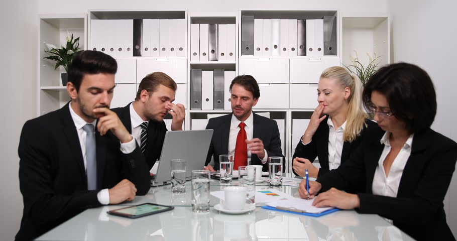 Exhausted Team of Business People Loose Attention in Boardroom Overworked Group | Shutterstock HD Video #32807077
