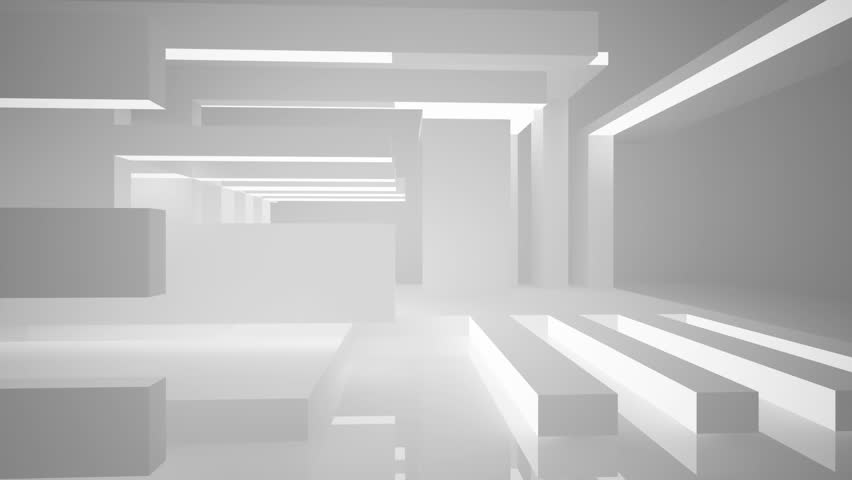 Abstract White Interior Highlights Future. Architectural Background. 3D  Animation And Rendering.   HD