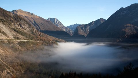 Fog movement time lapse on the bottom of Vajont valley, Friuli, Italy