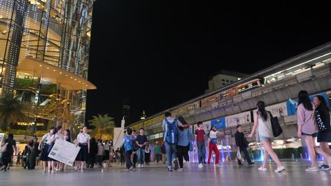 4K Timelapse: Asian Thai People and Tourists Walking and Shopping in Paragon Shopping Center Square at Siam BTS Subway Train Station. Bangkok, Thailand - 15 NOV 2017.
