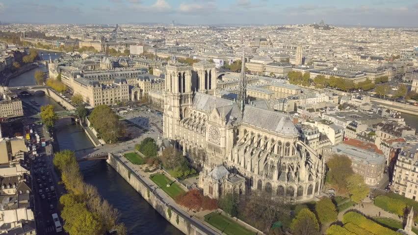 Cityscape of Paris. Aerial view of Notre Dame de Paris Cathedral | Shutterstock HD Video #32855257