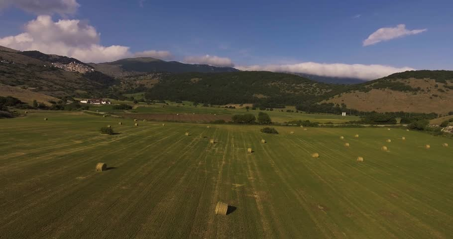 Aerial Hay Rolls On The Stock Footage Video 100 Royalty Free 32855845 Shutterstock