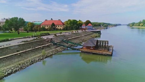 Aerial view of the old mill on the river Drava in Osijek Croatia.