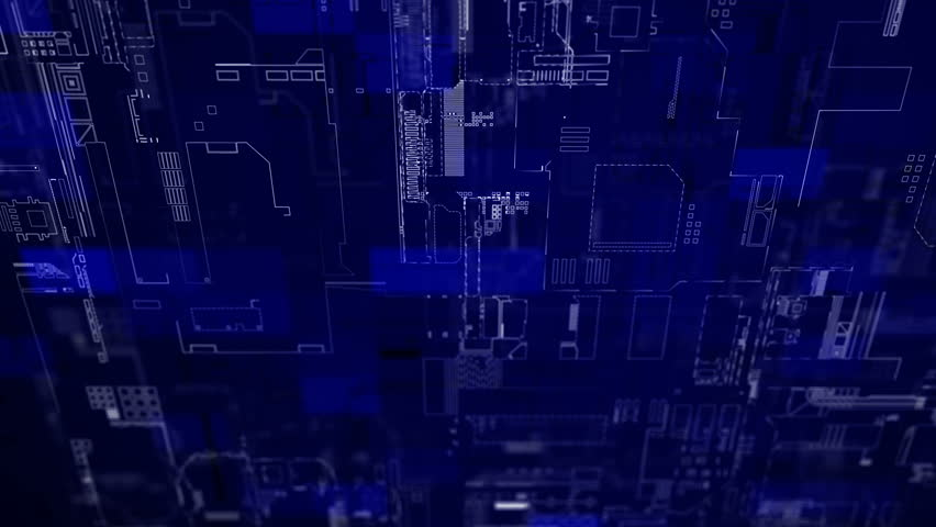 Blue diagram of electronic circuit boards, looped background | Shutterstock HD Video #32866213