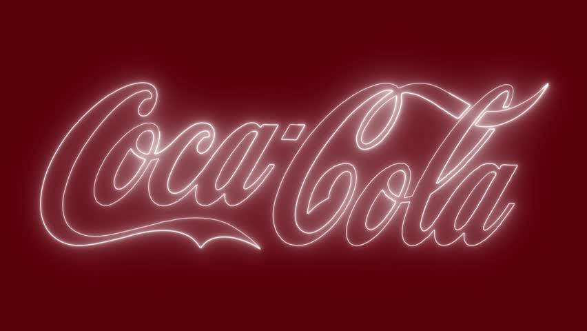 Coca Cola logo with neon lights. Editorial animation.