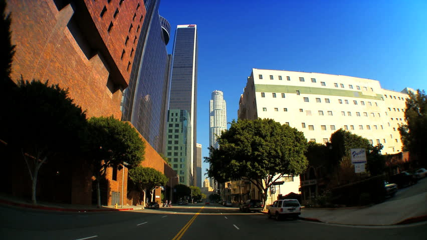 "Timelapse ""point-of-view"" with fish-eye driving in downtown Los Angeles"