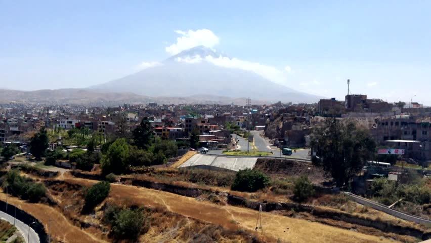 Misty's volcano on the background of Arequipa, Peru