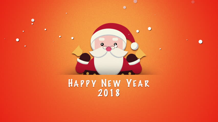 Happy New Year 2018 Text, Animated Footage In 4K. Santa Claus With Christmas  Bells