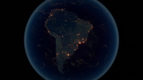 Zoom to South America. The Night View of City Lights. World Zoom Into South America - Planet Earth. Political Borders of South American Countries.  Super Detailed Space View Earth Zoom.