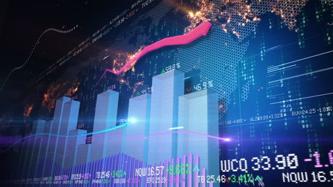 Abstract animation of bar charts and world map in background. Seamless loop.