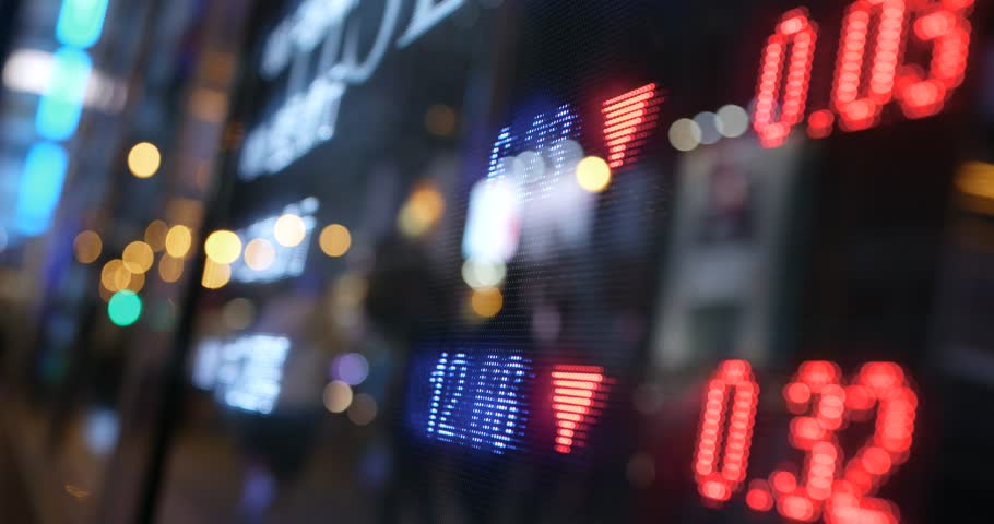 Stock market graph in city at night | Shutterstock HD Video #32920663