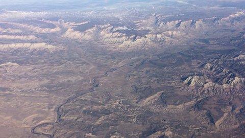 Aerial View of Dry Utah and Nevada Desert in 4K