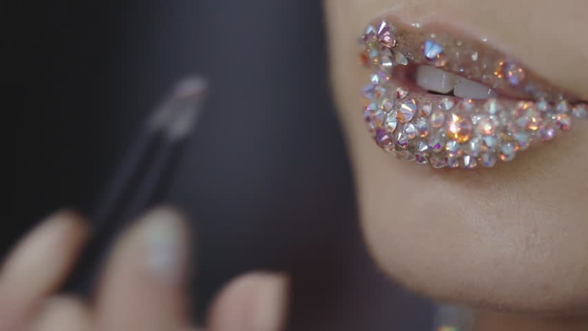 Glass lips closeup. New Year