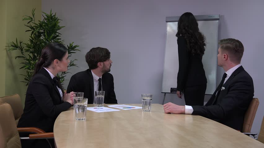 Business young people team teamwork successful manager female job on white board | Shutterstock HD Video #32978611
