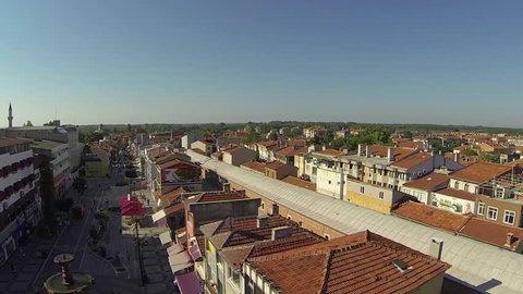 central of edirne which old capital of ottoman. small and old houses.  Edirne Merkez Drone Görüntüsü