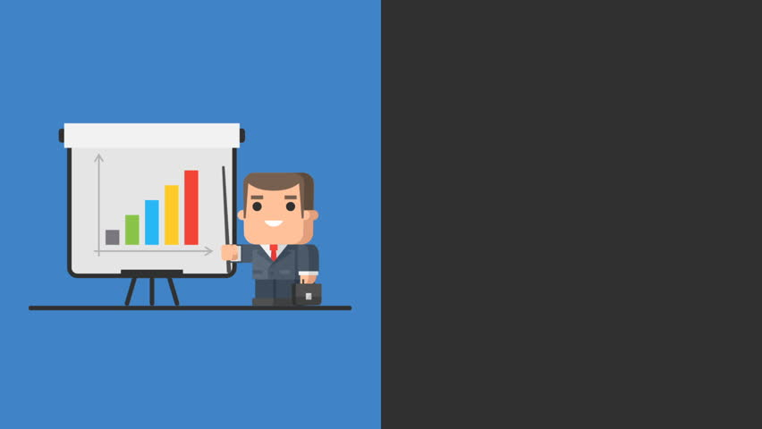 Businessman Standing Near Flip Chart and Points to Graph. Video Concept. Motion Graphics. | Shutterstock HD Video #32987653