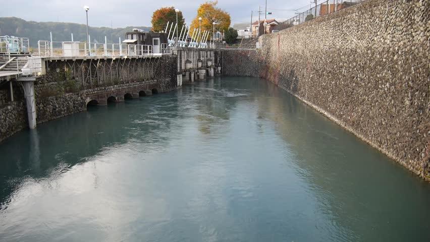 Flow of Tamagawa Josui near Hamura intake weir