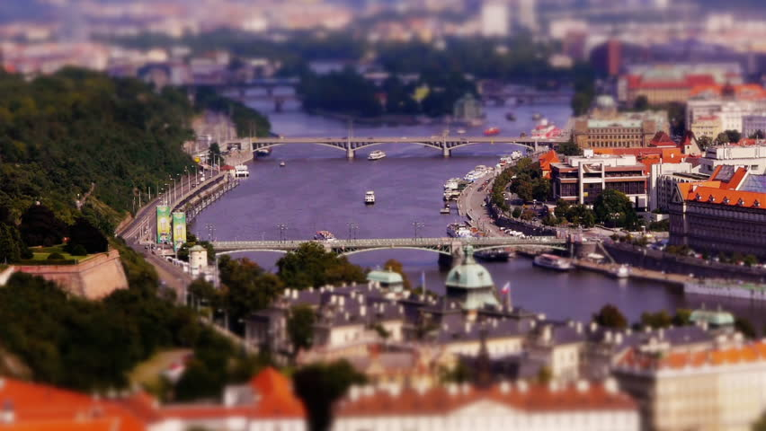 Miniature Vltava river and bridges in Prague (Tilt-shift)