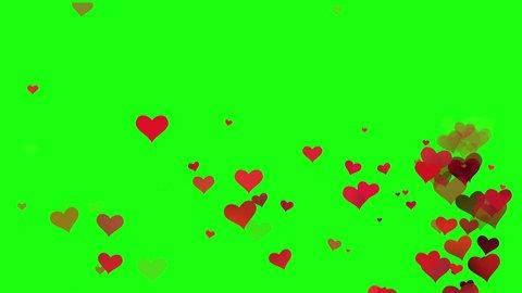 hearts on green screen.