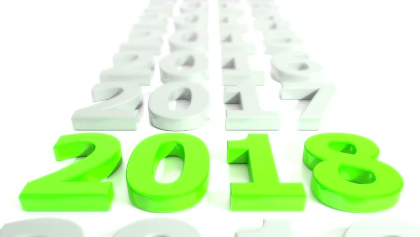 3d video animation - number 2018 in green over white background - represents the new year. | Shutterstock HD Video #33059758