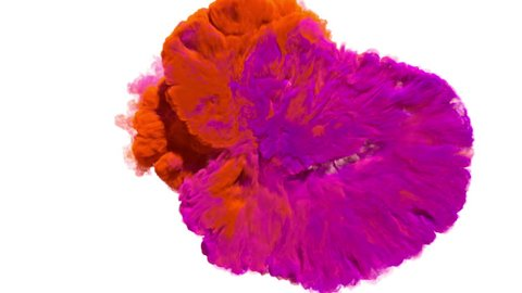 Colored smoke puff towards the camera, smoke hits camera's lense. Separated on pure white background, contains alpha channel.