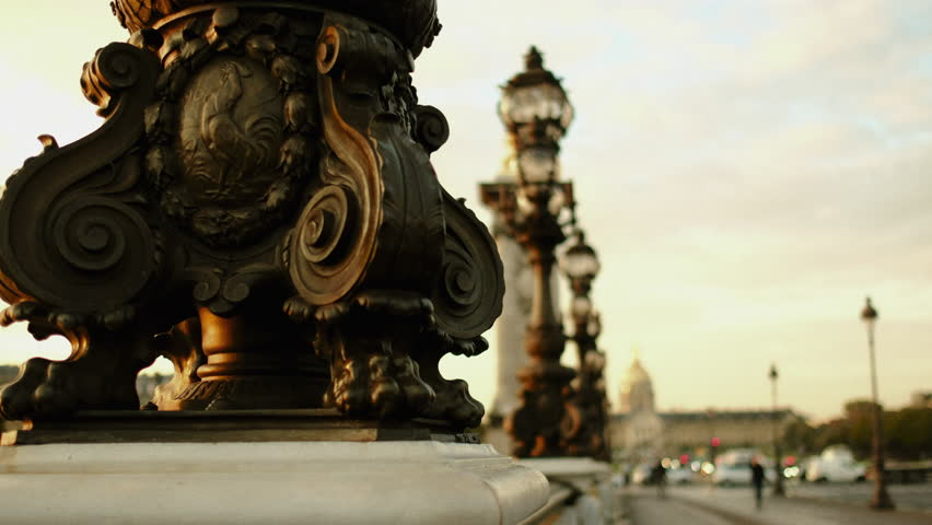 PARIS, FRANCE October 24, 2017: A detail of the famous Pont Alexandre III in Paris. Passengers are walking by watching the city.  | Shutterstock HD Video #33139075