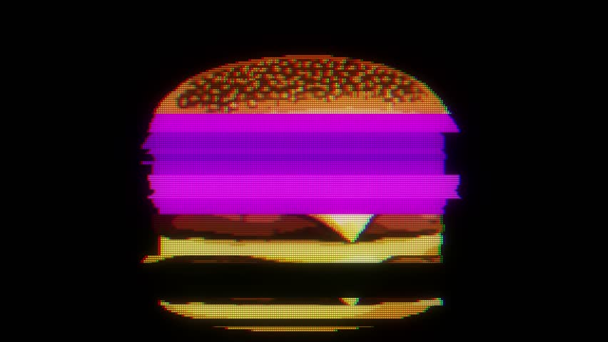 drawn marker pixel burger glitch cartoon handmade animation seamless loop lcd screen background ... New quality universal vintage stop motion dynamic animated colorful joyful cool video footage