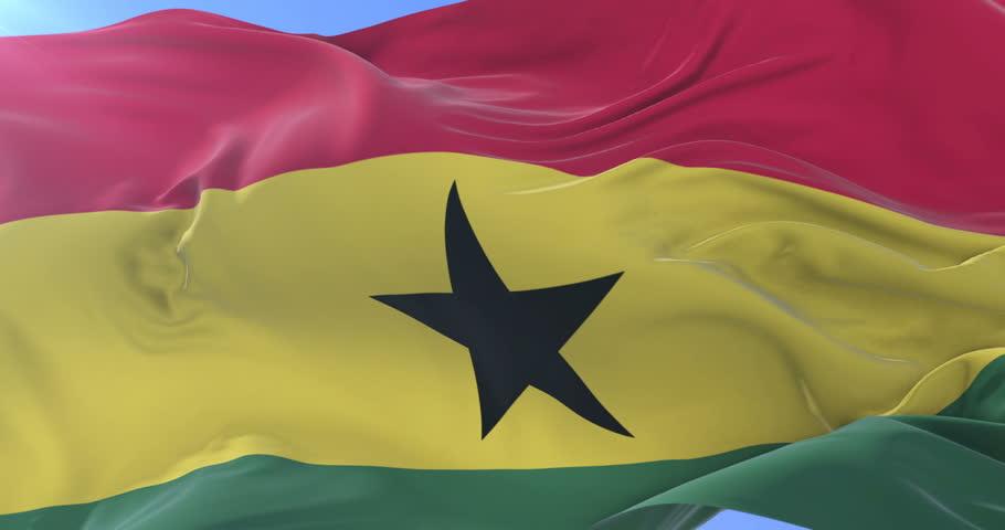 Ghana flag waving at wind with blue sky in slow, loop