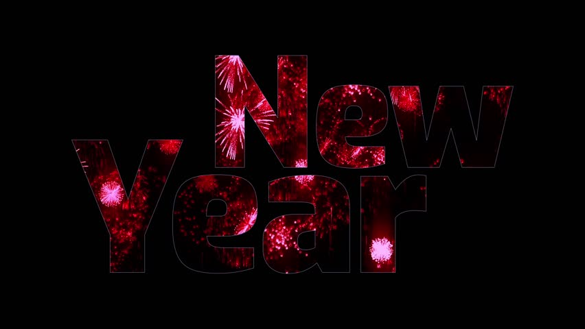 Beautiful red fireworks glow through the text Happy New Year. Composition for the new year celebration. Bright fireworks, amazing light show. V5   Shutterstock HD Video #33181555