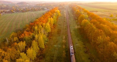 Aerial view: train at the rural scene in autumn. The train rides through the rural countryside in the sunrise.  The train rides along the beautiful autumn forest band in nature. Wonderful sunlight.